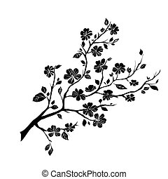 twig cherry blossoms - twig sakura blossoms. Vector ...