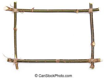 frame - twig frame over white background