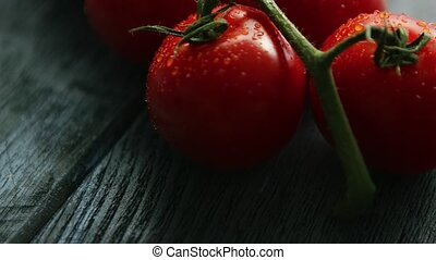 Twig with ripe red tomatoes - Closeup shot of green twig...