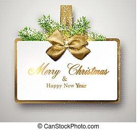 twigs., cadeau, papier, spruce, witte , kaart