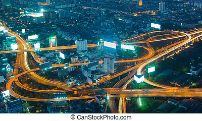 Twilight, aerial view highway