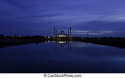 Twilight at Central mosque, Songkhla, Thailand
