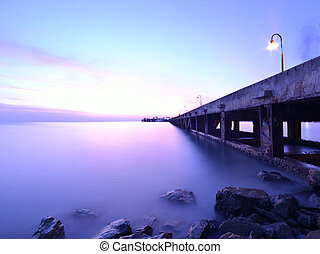 samui pier - twilight at nathon ko samui pier thailand.
