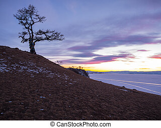Twilight at the Cape of Shamanka on Olkhon Island in Lake Baikal