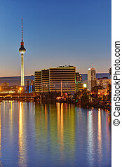 Twilight at the river Spree in Berlin