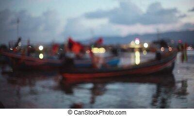 Twilight Beach Pier with blurred bokeh lights. 1920x1080. hd