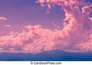 Twilight cloud on magenta sky