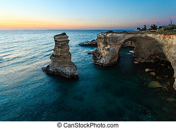 Twilight Faraglioni at Torre Sant Andrea, Italy - Twilight...