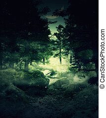 Twilight forest - Green foggy twilight forest, mystical...