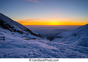 Twilight from high up in the Alps