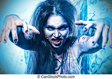 twilight girl - Bloodthirsty zombi standing at the night...