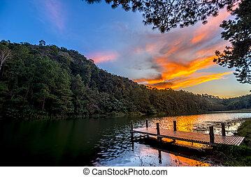 twilight landscape lake dock
