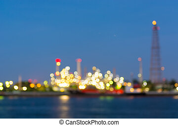Twilight of refinery bokeh background.