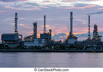 Twilight of refinery oil plant.