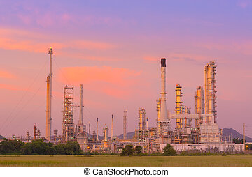 Twilight of refinery plant.