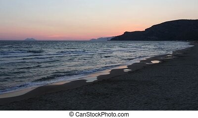 Twilight on sea beach