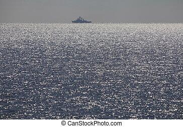 Twilight on the sea.