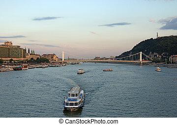 twilight over Danube river Budapest