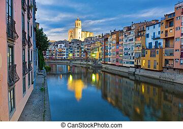 Twilight over Girona, Catalunya, Spain