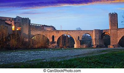 twilight photo of Medieval bridge. Besalu - twilight photo ...