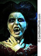 twilight - Portrait of a bloodthirsty female vampire.