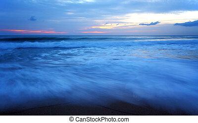 Twilight sea wave, Maikao beach Phuket