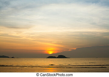 Twilight sky amazing sunset over the sea.