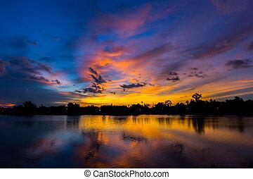 twilight sky at the park