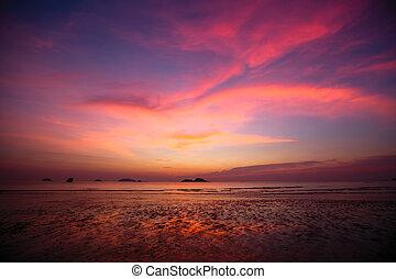 Twilight sky over the Sea beach.