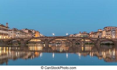 Twilight sky scene of Ponte Alla Carraia and Santa Trinita Holy Trinity Bridge day to night timelapse over River Arno