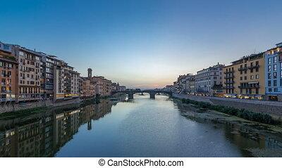 Twilight sky scene of Ponte Santa Trinita Holy Trinity Bridge day to night timelapse over River Arno