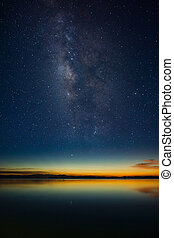 The sky with stardust at the lake in the twilight after sunset.