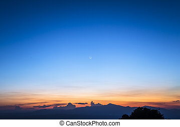 twilight sky with the moon