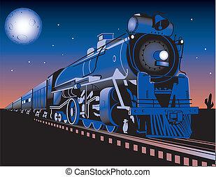 Twilight Train - A train running through the desert at night