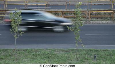 Twilight Urban Rush Hour Traffic - Speed limits slow down...