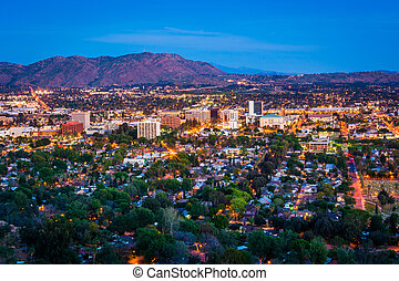 Twilight view of the city of Riverside, from Mount Rubidoux...