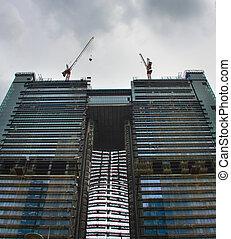 twin, 建設, 超高層ビル, 縦