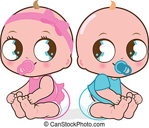 Twin babies - Two cute twin babies, a baby girl and a baby...