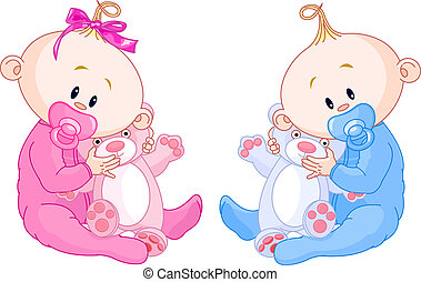 Twin Babies - Twin Baby Boy And Girl With Pacifiers and Toys...