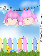 Baby girls hanging from clothesline.