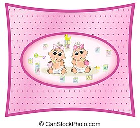 Illustration of girl twins, surrounded by baby blocks, on a dotted swiss, pink gradient background. Light flesh tone.
