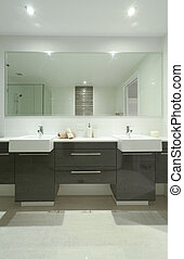 Stylish twin bathroom with two sinks and mirror.