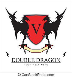 Twin Black Dragons and Red shield