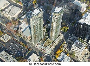 Twin Buildings - Aerial - Twin buildings in Bellevue, WA ...
