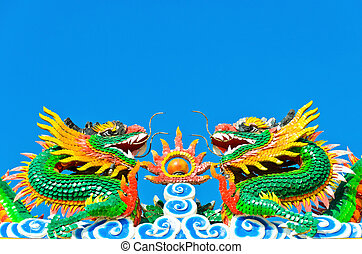 twin chinese dragon statue