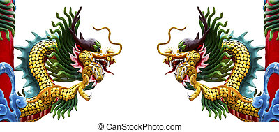 Twin dragon statue isolated on white background