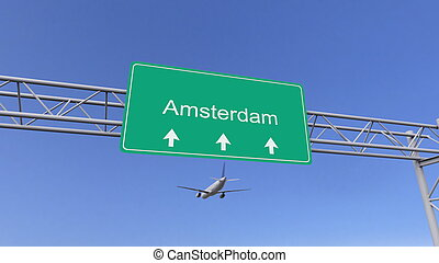 Twin engine commercial airplane arriving to Amsterdam airport. Travelling to Netherlands conceptual 3D rendering