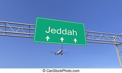 Twin engine commercial airplane arriving to Jeddah airport. Travelling to Saudi Arabia conceptual 3D rendering