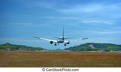 Twin-engine, Jet Airliner Lands Safely at Phuket International Airport in Thailand