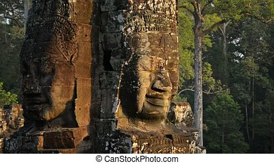 Twin Faces of Ancient Religious Monument at Bayon Temple -...